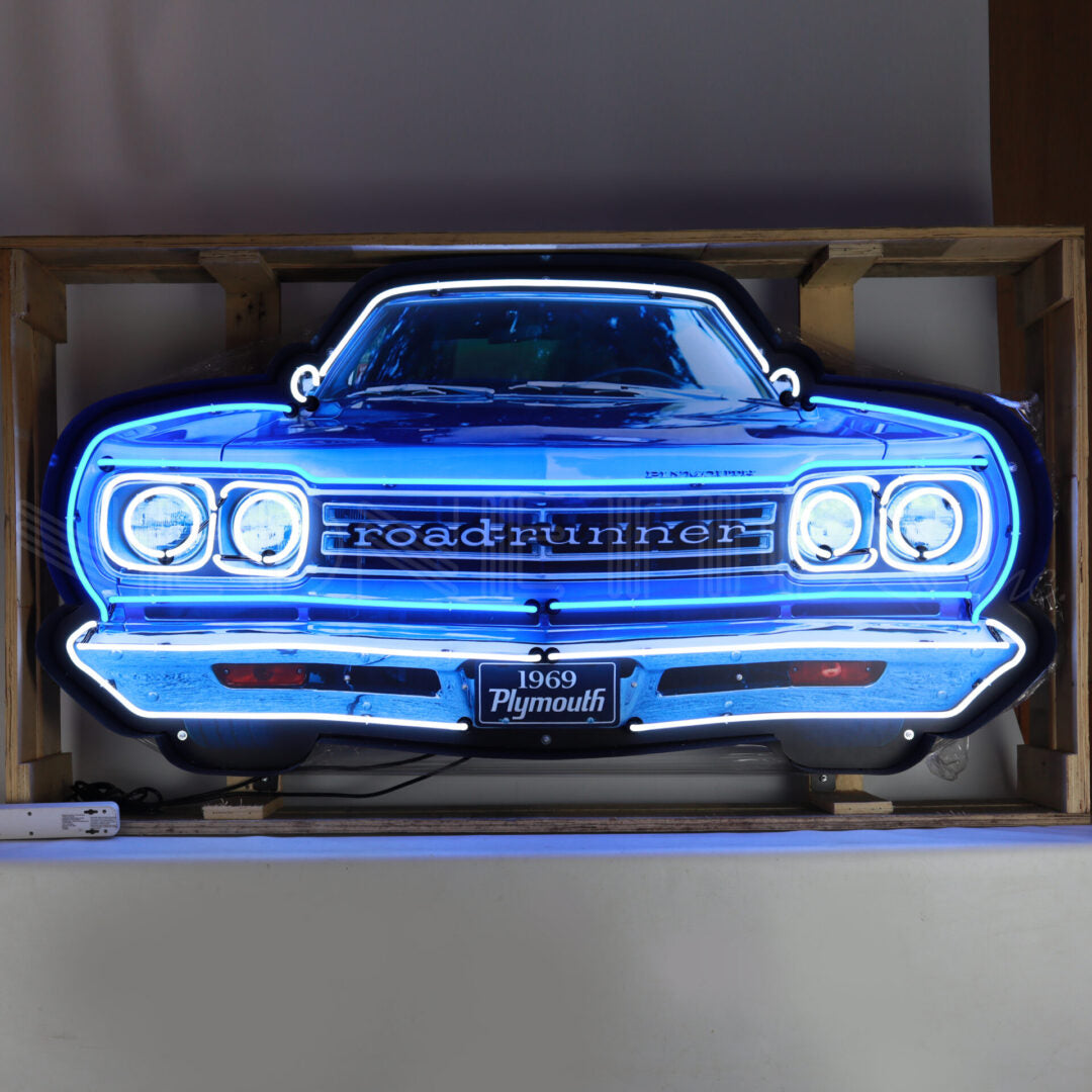 Plymouth Road Runner Grill Neon Sign in a Steel Can