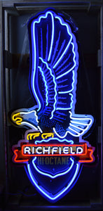Richfield Eagle Gasoline Neon Sign in a Steel Can