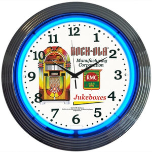 Rockola Juke Box Blue Neon Clock