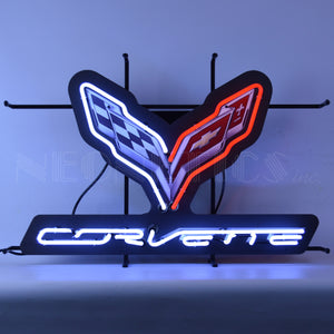 Corvette C-7 Flags Neon Sign