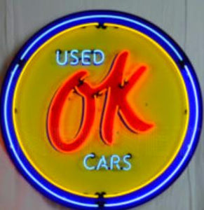 OK Used Cars in Steel Can Neon Sign