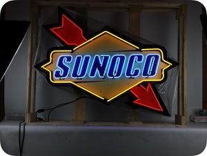 Sunoco Neon Sign In a Steel Can