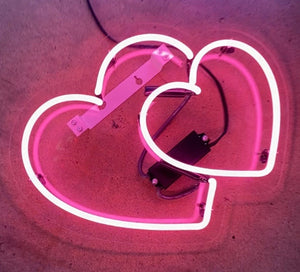 Hearts Neon with Acrylic Panel