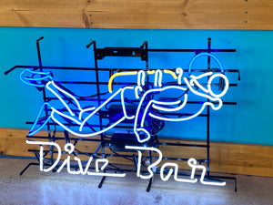 Dive Bar with Scuba Guy Neon Sign