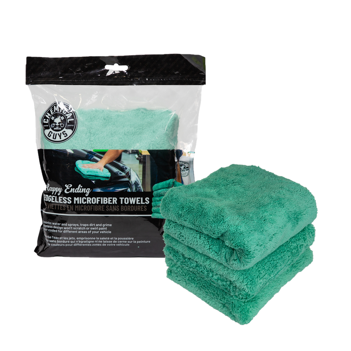 Chemical Guys Happy Ending Edgeless Microfibre Towel Green (3 Pack) Chemguys