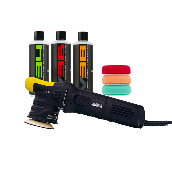 Apex Customs Grasshopper 2.0 - Mini DA Polisher 12mm - Chem Guys Detailer's Kit