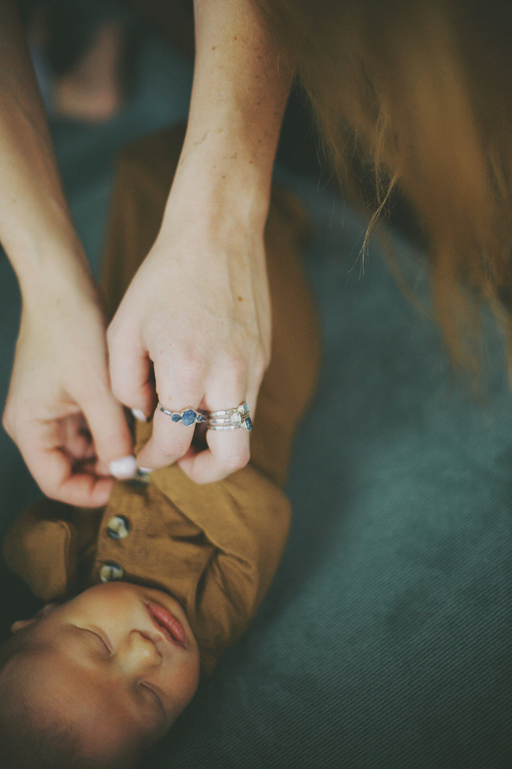 April & Angel Baby Stackable Ring (single stone) // Rose Gold, Gold, or Silver - Little Sycamore