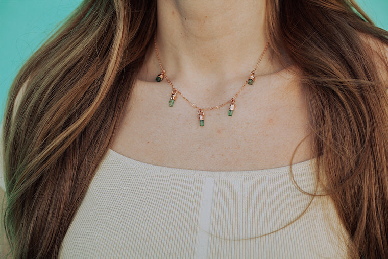 October Green Raindrops Necklace // Tourmaline in Rose Gold, Gold, or Silver
