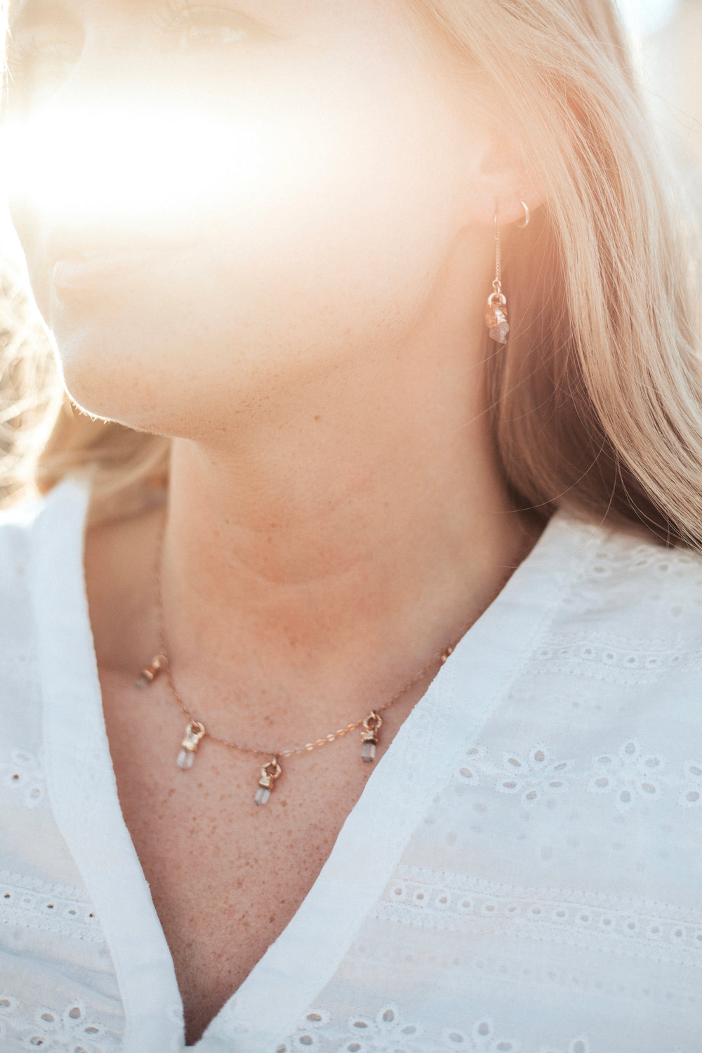 April & Angel Baby Raindrops Necklace // Diamond Quartz in Rose Gold, Gold, or Silver