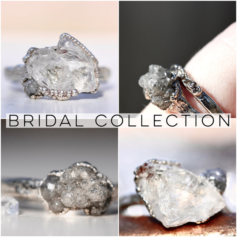 High End Raw Stone & Diamond Rings