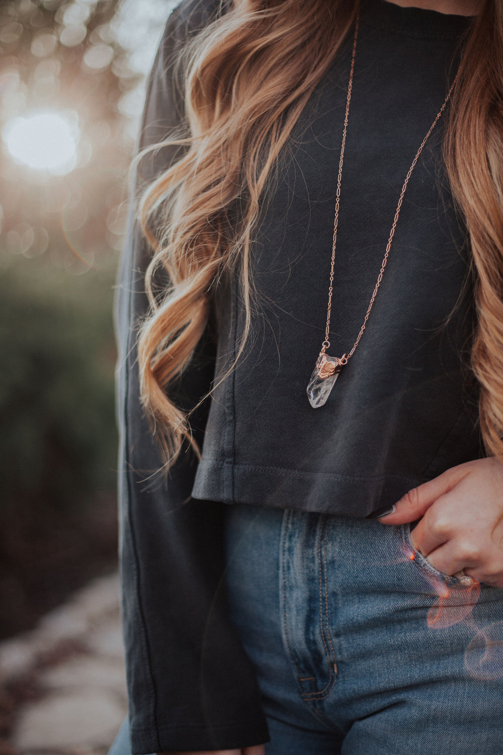 Crystal Peak Necklace // Rose Gold, Gold, or Silver - Little Sycamore