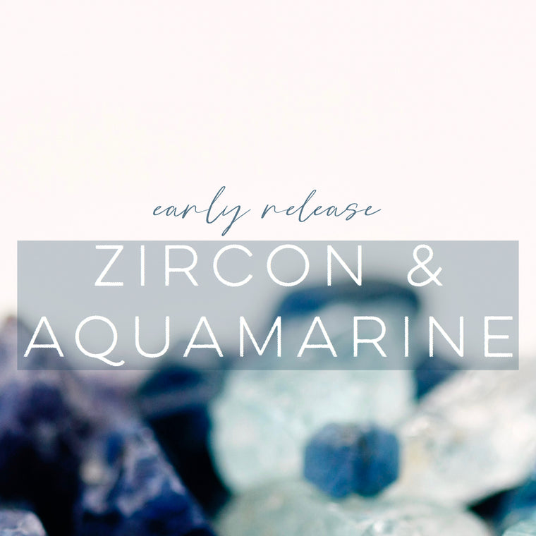 Aquamarine & Zircon Stud Earrings