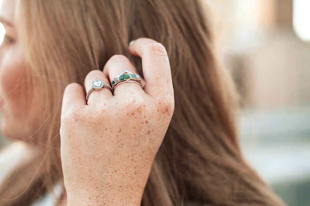 October Stackable Ring (multi color row) // Rose Gold, Gold, or Silver
