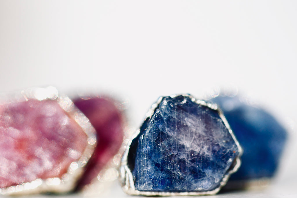 Limited Edition Mermaid Studs // Color Changing Sapphires in Silver - Little Sycamore
