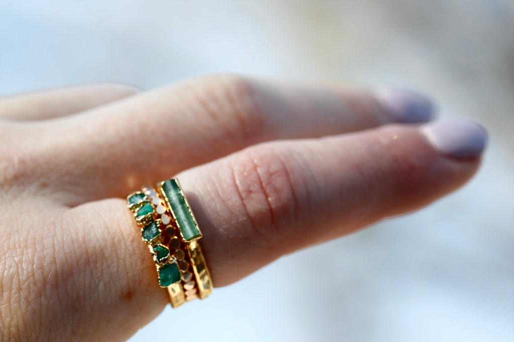 May Stackable Ring (multi stone) // Rose Gold, Gold, or Silver - Little Sycamore