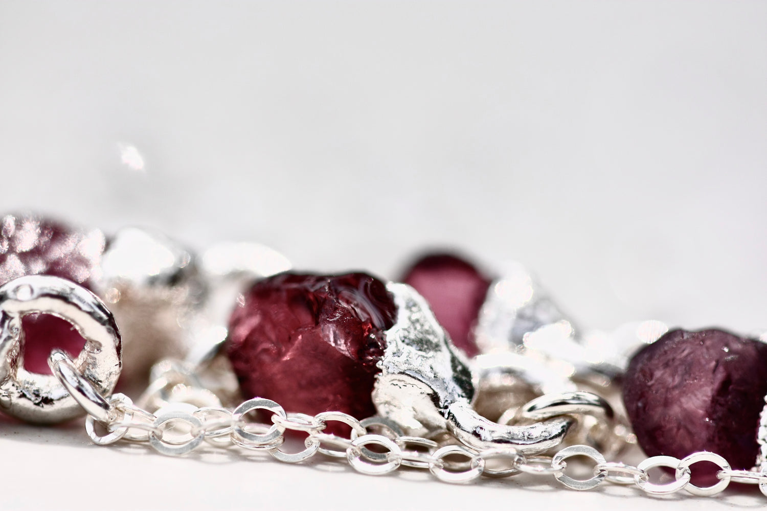 January Raindrops Necklace (maroon crystals) // Garnet in Rose Gold, Gold, or Silver - Little Sycamore