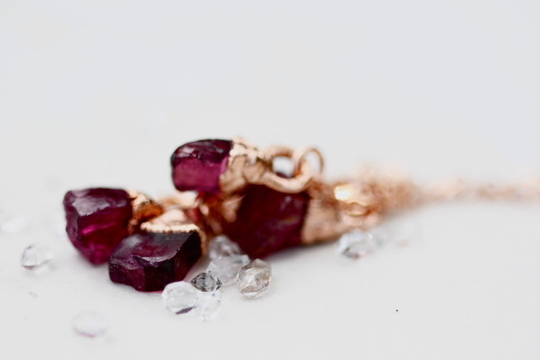 January Raindrops Necklace (maroon crystals) // Garnet in Rose Gold, Gold, or Silver