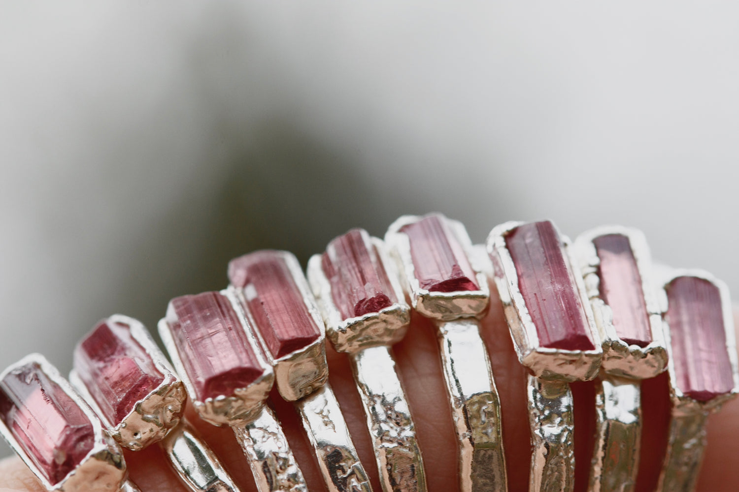 October Stackable Ring (pink tourmaline bar) // Rose Gold, Gold, or Silver - Little Sycamore