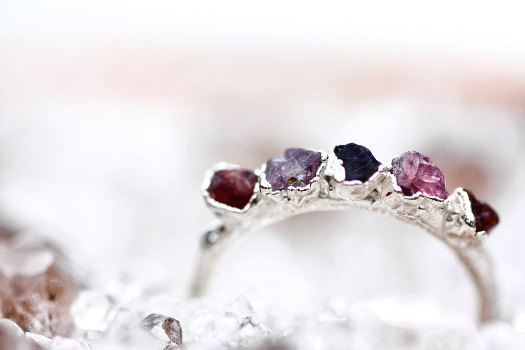 August Stackable Ring (spinel multi stone) // Rose Gold, Gold, or Silver - Little Sycamore