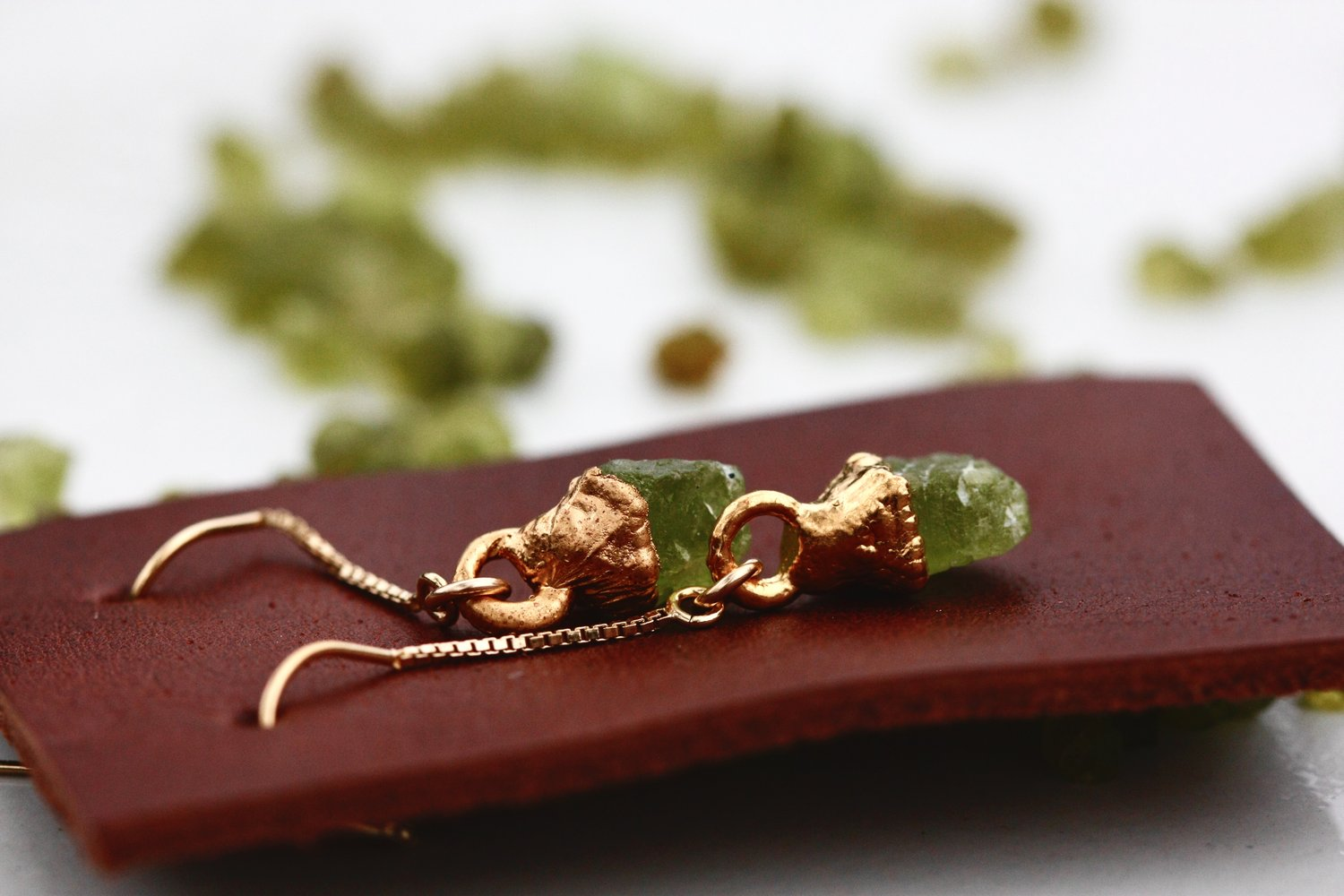 Peridot Drop Earrings // Rose Gold, Gold, or Silver