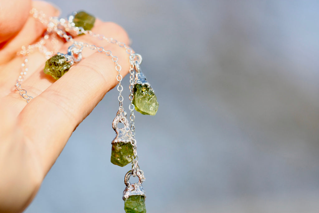 August Raindrops Necklace // Peridot in Rose Gold, Gold, or Silver - Little Sycamore