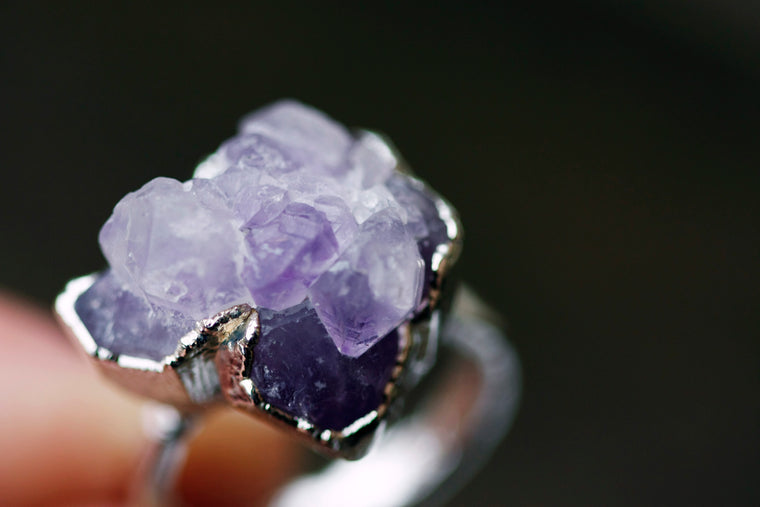 Amethyst Cluster Ring // Silver