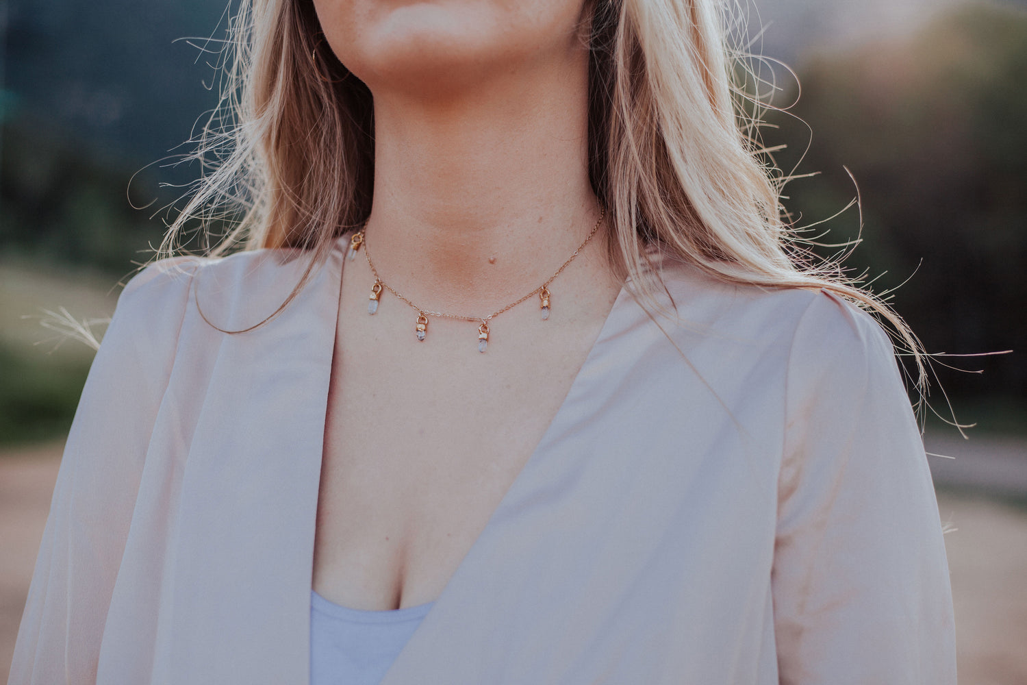 April & Angel Baby Raindrops Necklace // Diamond Quartz in Rose Gold, Gold, or Silver - Little Sycamore