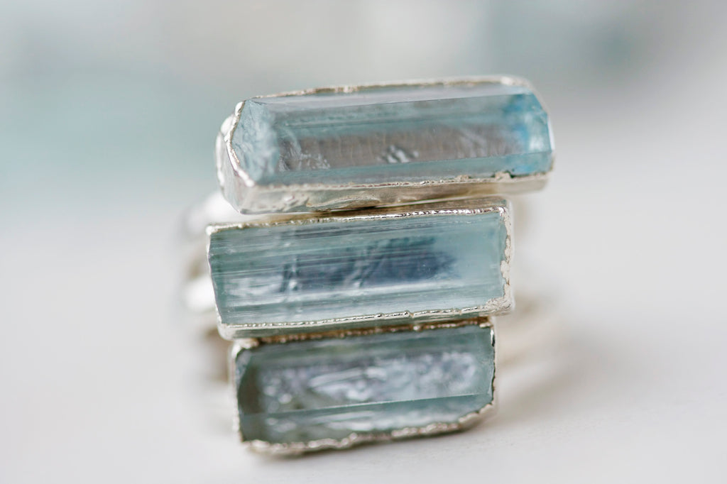 Horizontal Aquamarine Bar Ring // Rose Gold, Gold, or Silver - Little Sycamore