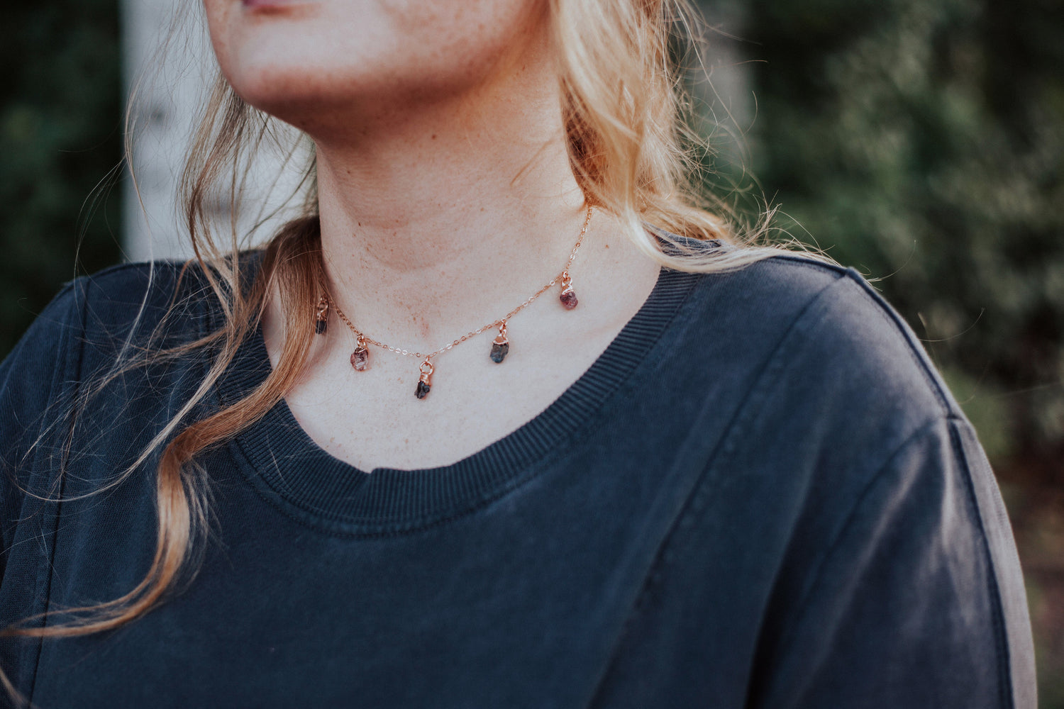 August Raindrops Necklace // Spinel in Rose Gold, Gold, or Silver - Little Sycamore