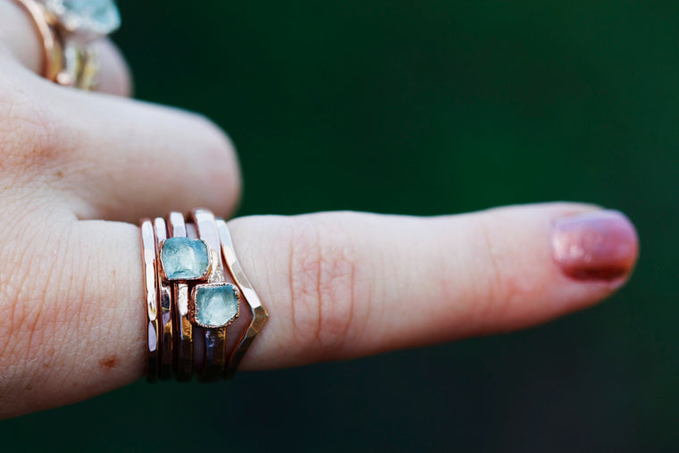 March Stackable Ring (single stone) // Rose Gold, Gold, or Silver - Little Sycamore