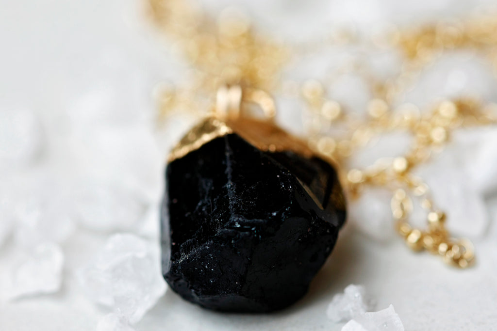 Black Tourmaline Necklace // Gold or Silver - Little Sycamore