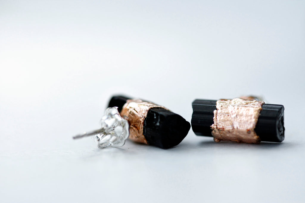 Ebony Studs // October Birthstone in Silver or Rose Gold - Little Sycamore