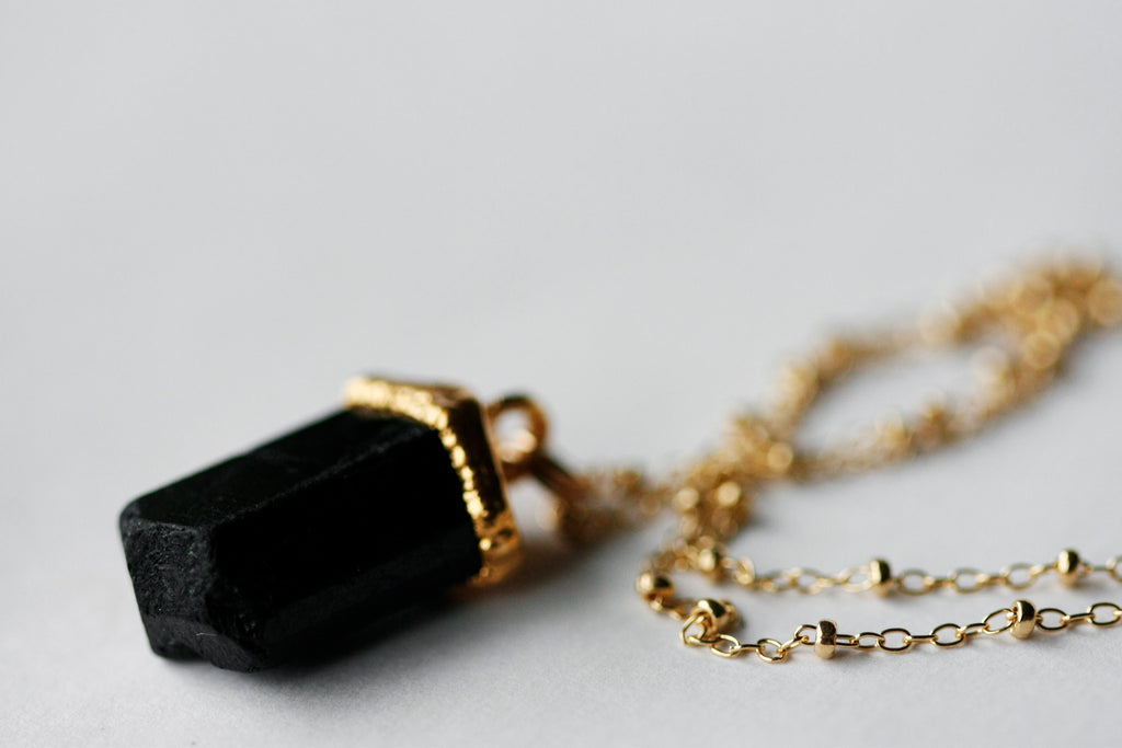Black Tourmaline Necklace // Gold or Silver