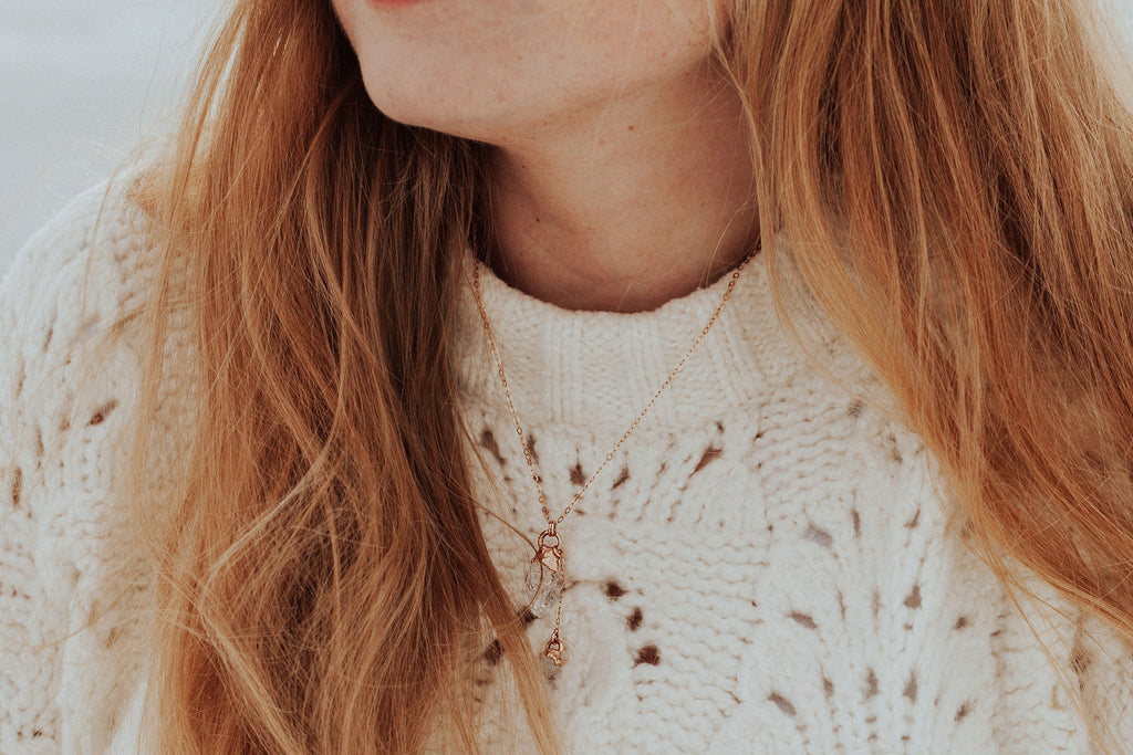 Crystal Drop Necklace // Rose Gold, Gold, or Silver - Little Sycamore