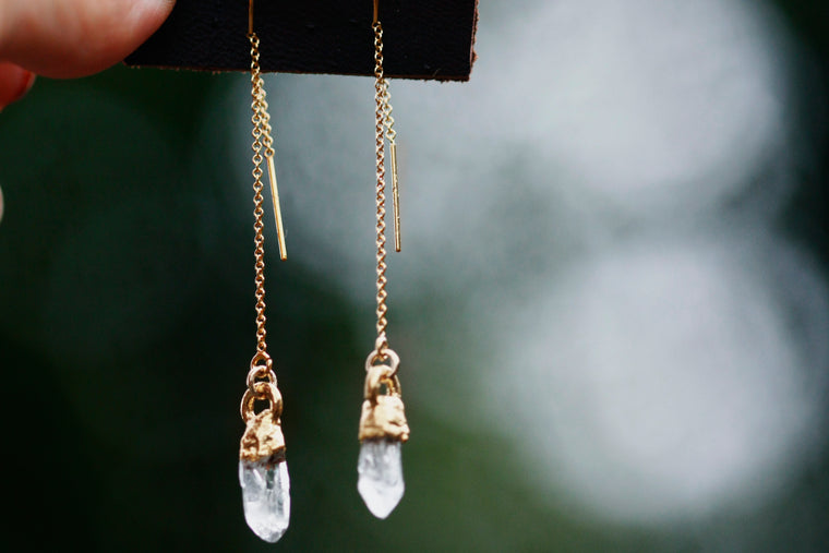 Crystal Drop Earrings // Gold