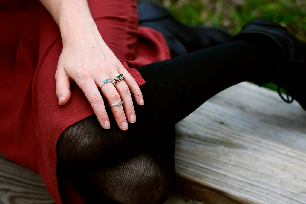October Stackable Ring (green multi stone) // Rose Gold, Gold, or Silver - Little Sycamore