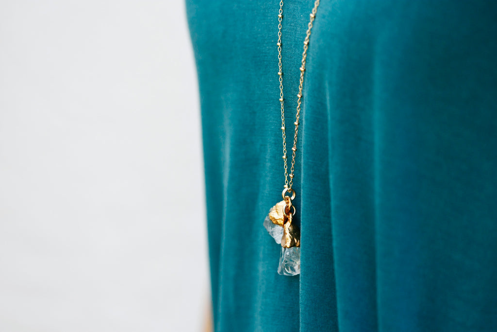 Double Quartz Necklace // Rose Gold, Gold, or Silver - Little Sycamore