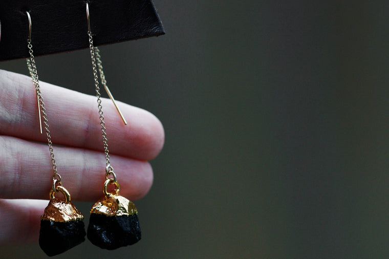 Black Tourmaline Drop Earrings // Gold