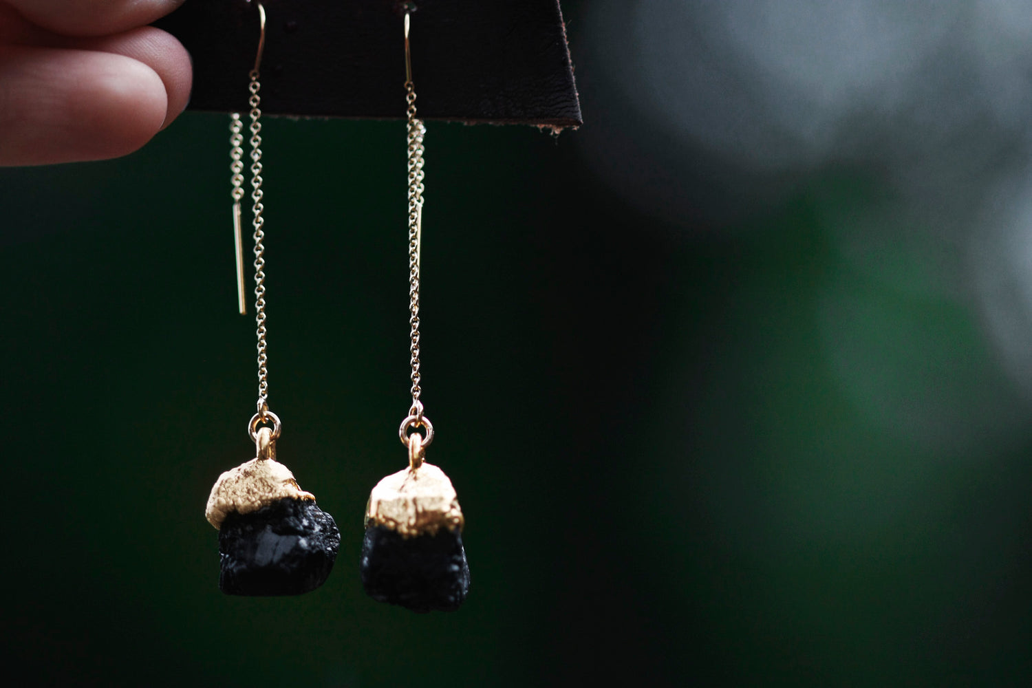 Black Tourmaline Drop Earrings // Gold - Little Sycamore