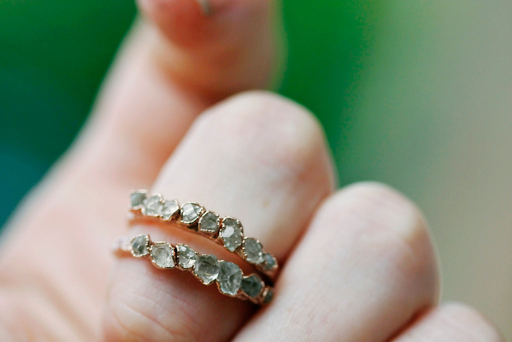 April & Angel Baby Stackable Ring (multi stone) // Rose Gold, Gold, or Silver - Little Sycamore