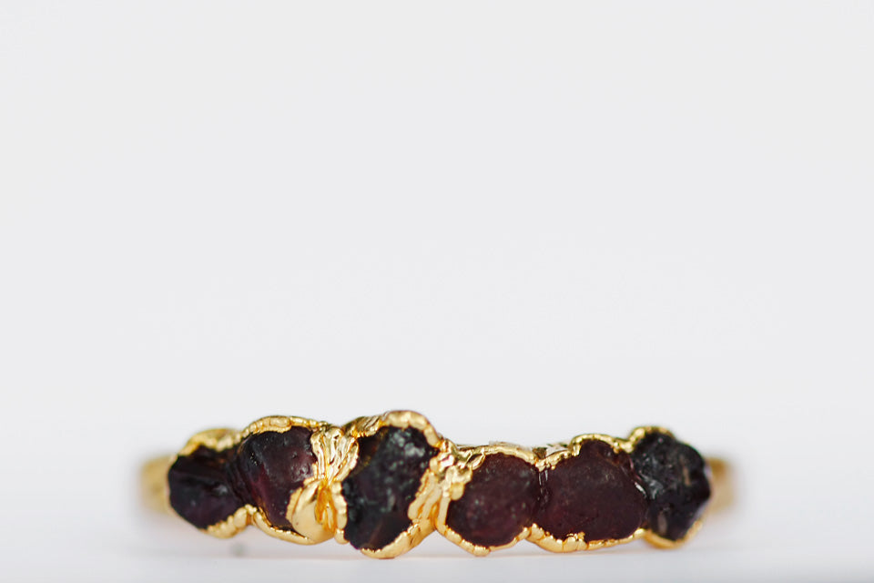 January Stackable Ring (dark red multi stone) // Rose Gold, Gold, or Silver - Little Sycamore