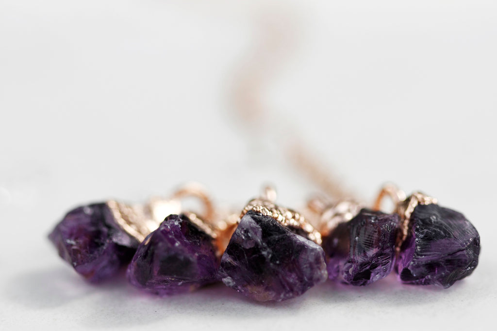 February Raindrops Necklace //Amethyst in Rose Gold, Gold, or Silver - Little Sycamore