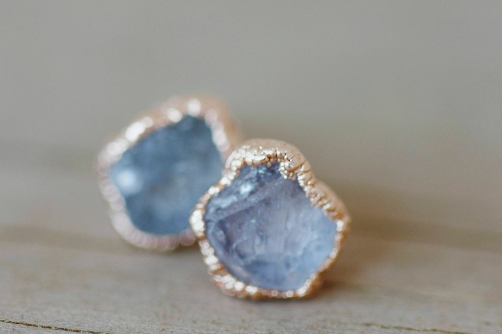 Sapphire Earrings // Rose Gold - Little Sycamore