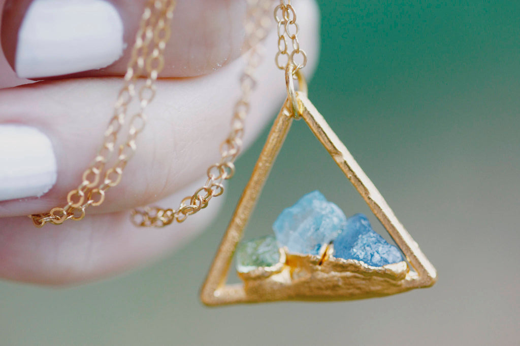 Mothers Triangle Necklace // Rose Gold, Gold, Silver