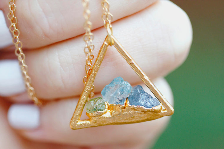 Triangle Custom Mothers Necklace // Gold, Rose Gold, or Silver