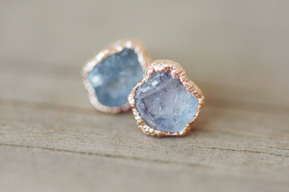 Custom Single Stone Earrings // Rose Gold, Gold, Silver - Little Sycamore