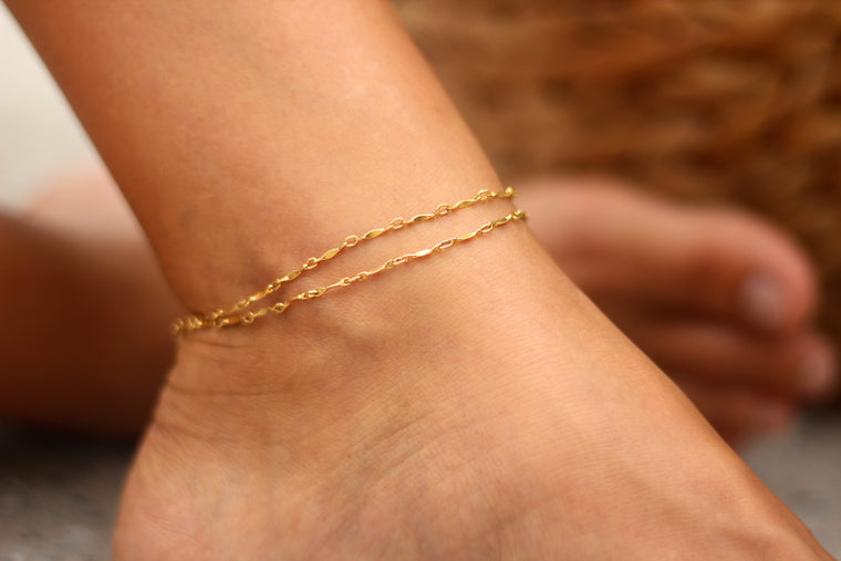 Layered Ripple Anklet // Rose Gold, Gold, Silver
