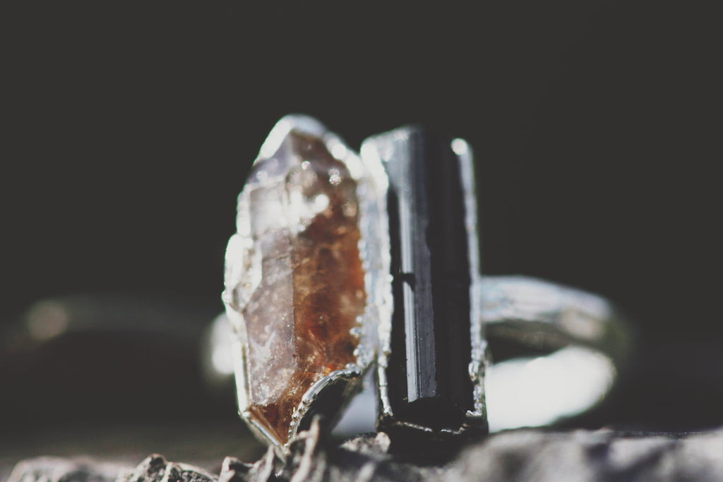 Shield // Black Tourmaline and Smoky Quartz Ring
