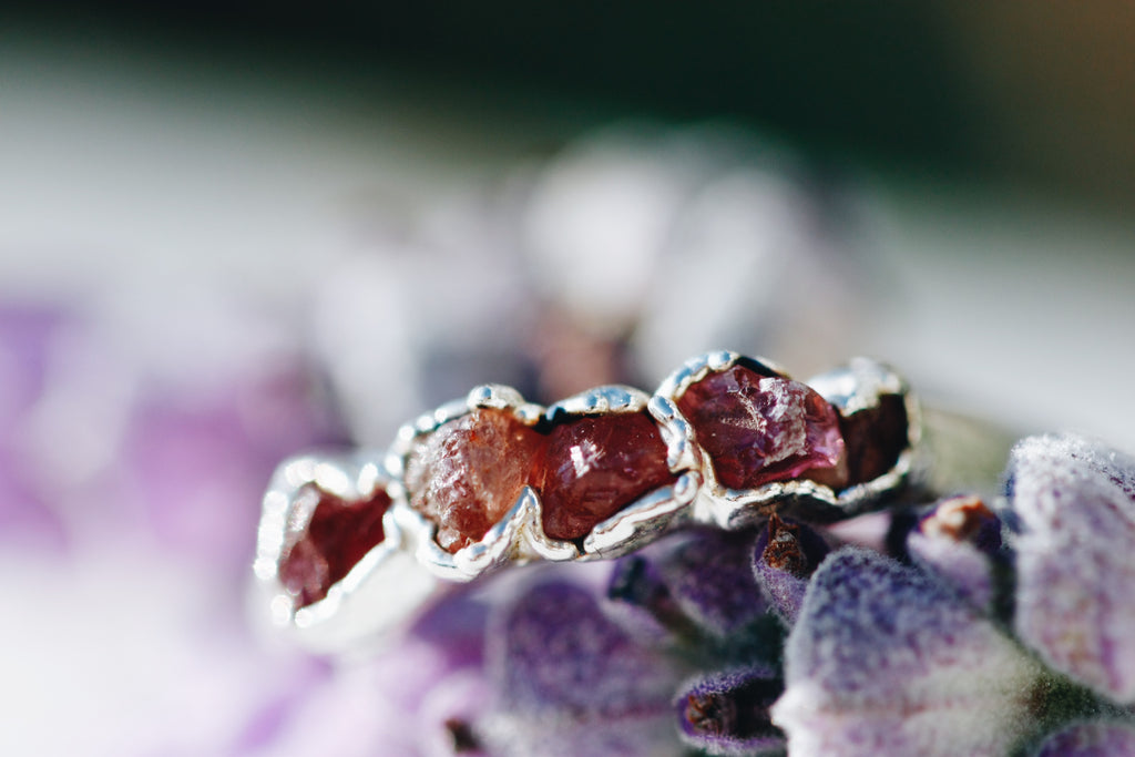 October Stackable Ring (dark pink multi stone) // Rose Gold, Gold, or Silver