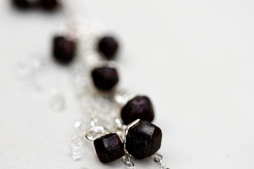 January Raindrops Necklace (round crystals) // Garnet in Rose Gold, Gold, or Silver - Little Sycamore